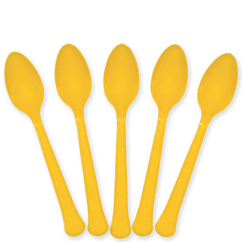 Yellow Sunshine Plastic Spoons | 20ct