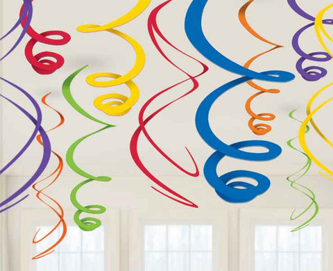 Rainbow Swirl Decorations | 12pc, 22""