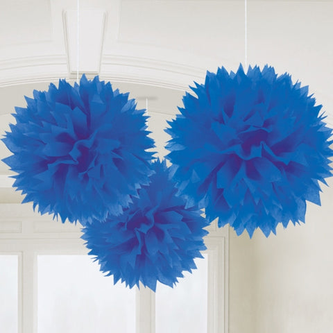 Fluffy Decorations, Bright Royal Blue | 3 ct