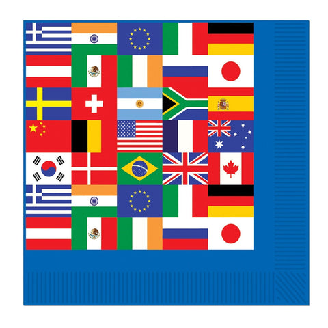 International Flag 5in Paper Beverage Napkins | 16ct