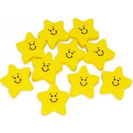 Smiley Face Star Erasers | 24 ct