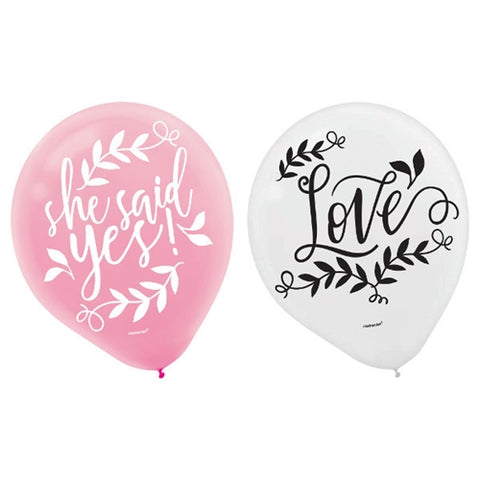 Pink and white balloons | 15 pieces