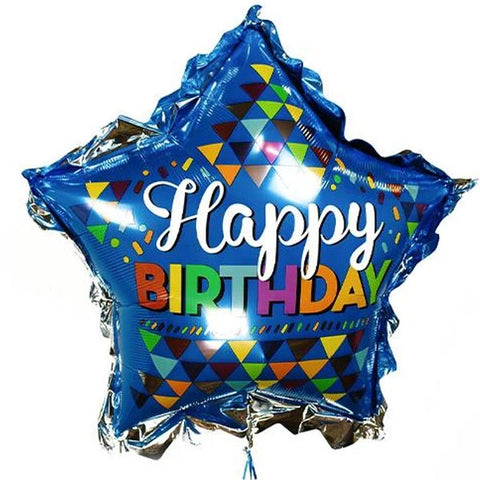 Happy Birthday Blue Star Super Shape Mylar Balloon, 32'' | 1 ct