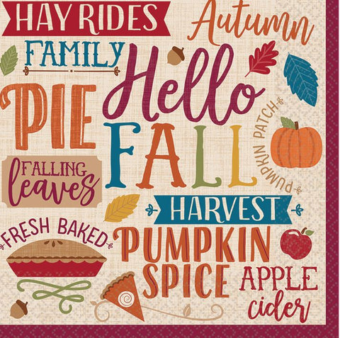Hello Fall lunch napkins 7in | 16ct