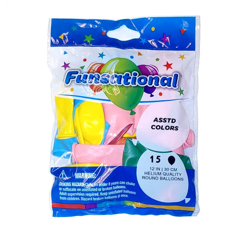 "Assorted Colors Funsational 12"" Latex Ballons 