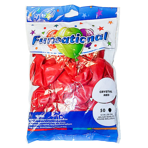 "Crystal Red Funsational 12"" Latex Ballons 