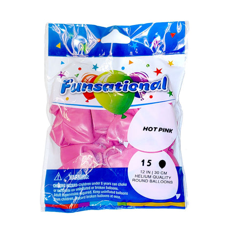 "Hot Pink Funsational 12"" Latex Ballons 