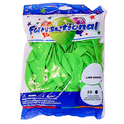 "Lime Green Funsational 12"" Latex Ballons 