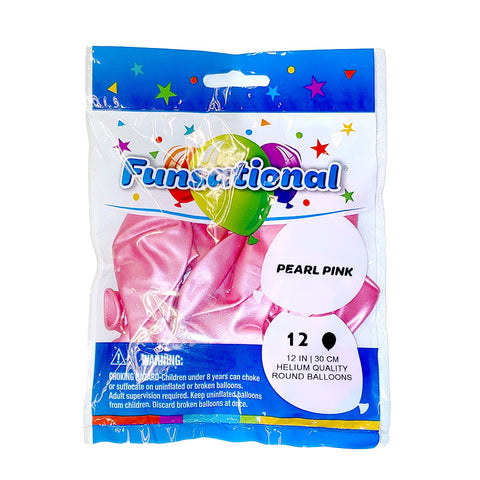 "Pearl Pink Funsational 12"" Latex Ballons 