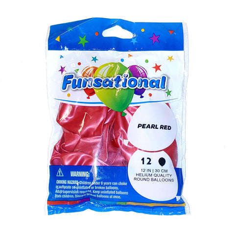 "Pearl Red Funsational 12"" Latex Ballons 