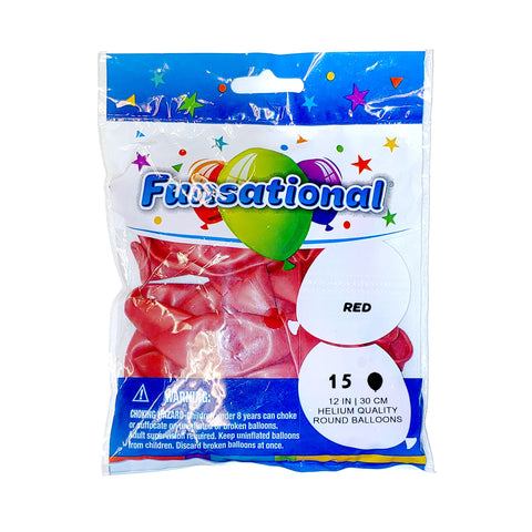 "Red Funsational 12"" Latex Ballons 