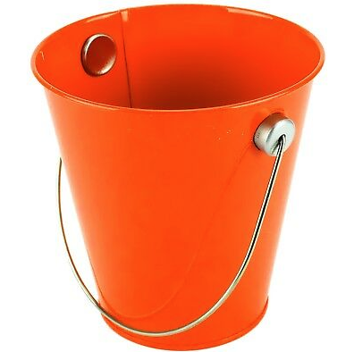 Orange Metal Bucket w/ Handle