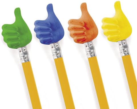 Thumbs Up Pencil Topper Erasers | 12 ct