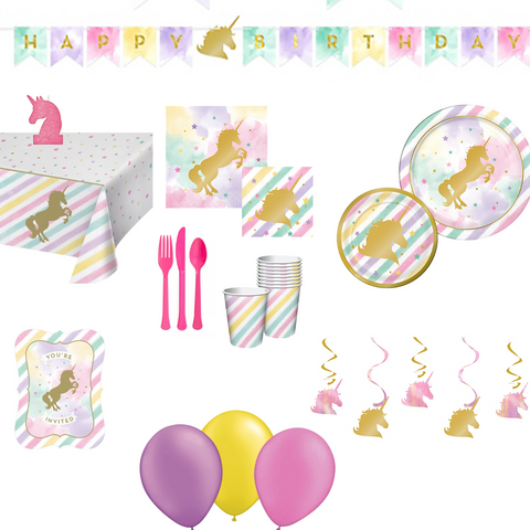Sparkle Unicorn Party Pack Basic | 8 Guests