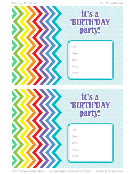 rainbow party invitation printables zurchers