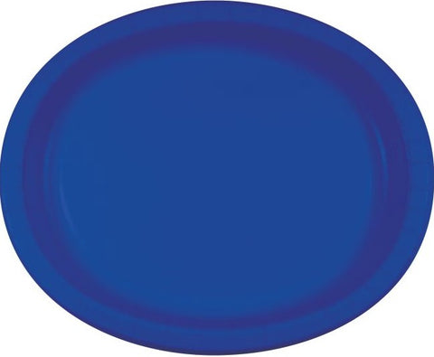 Bright Royal Blue Oval Paper Dinner Plates | 8ct