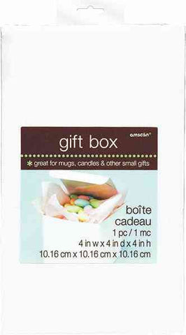 "White Gift Box 4"" x 4"" x 4"" 