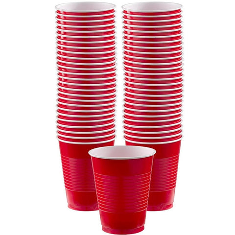 Apple Red 16oz Plastic Cups | 50ct
