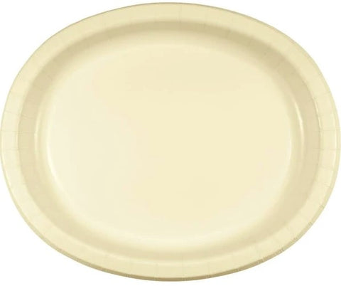 Vanilla Creme Oval Dinner Paper Plates | 8ct