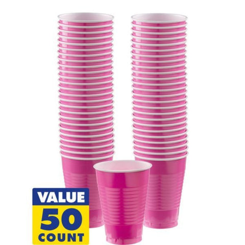 Bright Pink 12oz Plastic Cups | 50ct