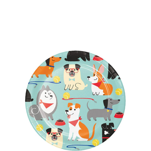 Pawesome Dog Party Dessert Plates 7"