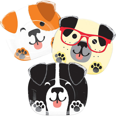 Pawesome Diecut Dog Party Lunch Plates 9"