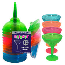 Brights Neon Plastic Margarita Glasses 12oz | 12ct