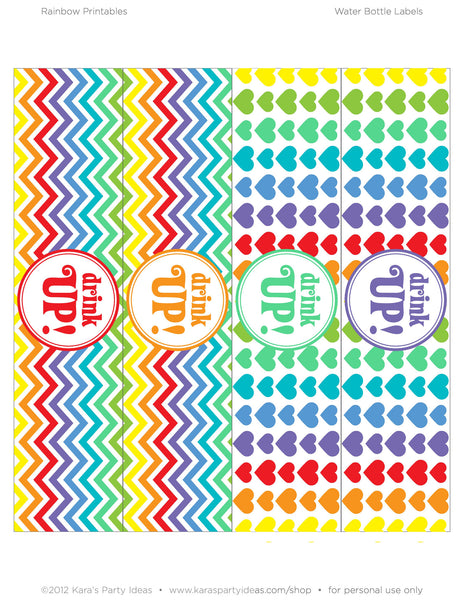 Rainbow Party Bottle Label Printables Zurchers