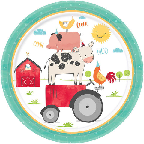 Barnyard Birthday Party Lunch Paper Plates 10.5"