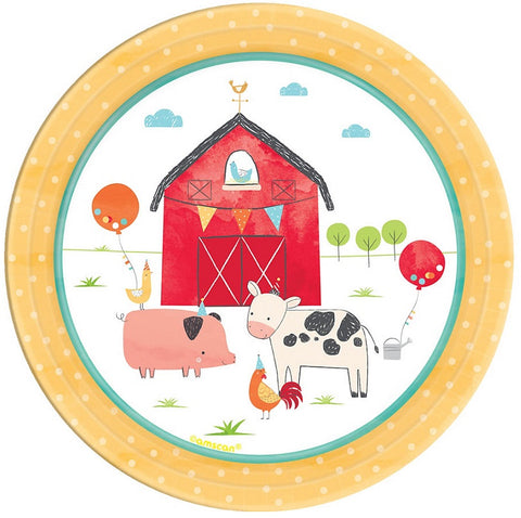 Barnyard Birthday Party Dessert Paper Plates 7"