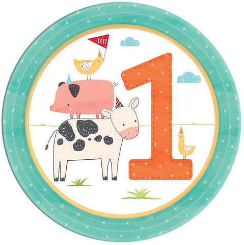 Barnyard Birthday Party 1st Birthday Dessert Paper Plates 7"