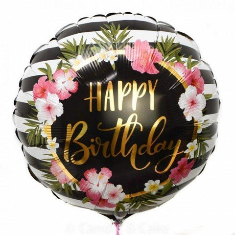 Happy Birthday Hibiscus Strip Mylar Balloon 18"