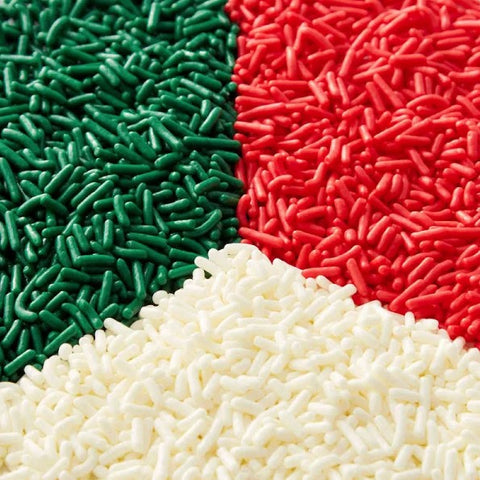 Holiday Jimmies Sprinkles Red, Green, White | 6.35oz