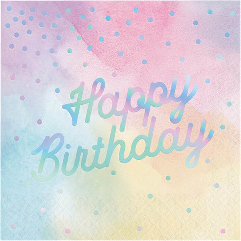 Iridescent Happy Birthday Lunch Napkins 6.5"