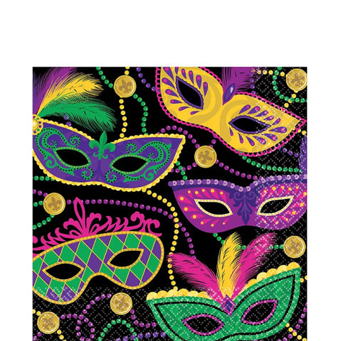 Mardi Gras Masks Lunch napkins | 16ct