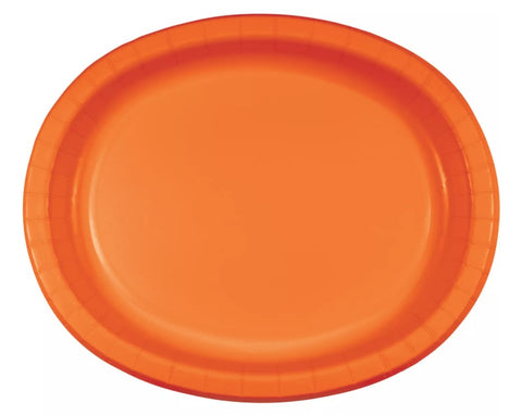 Orange Peel Oval Dinner Paper Plates | 8ct