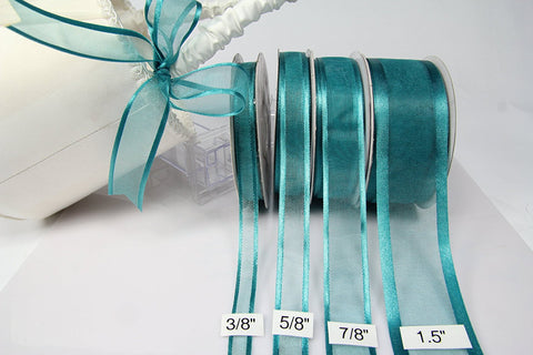 Sheer Teal Ribbon w/satin edge, 3/8"