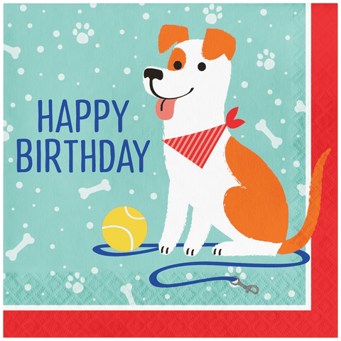 Pawesome Party Happy Birthday Napkins 6.5"