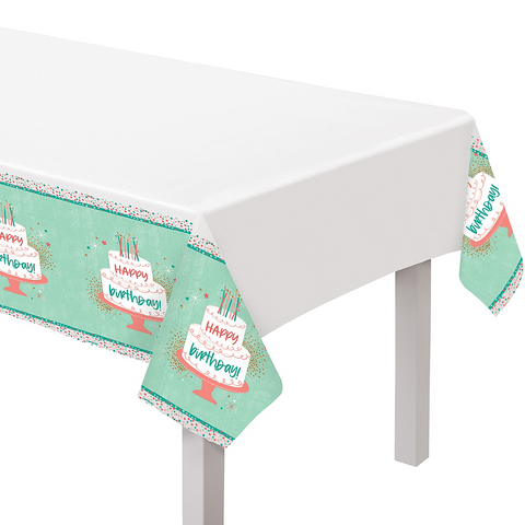 Happy Cake Day Plastic Table Cover | 1ct