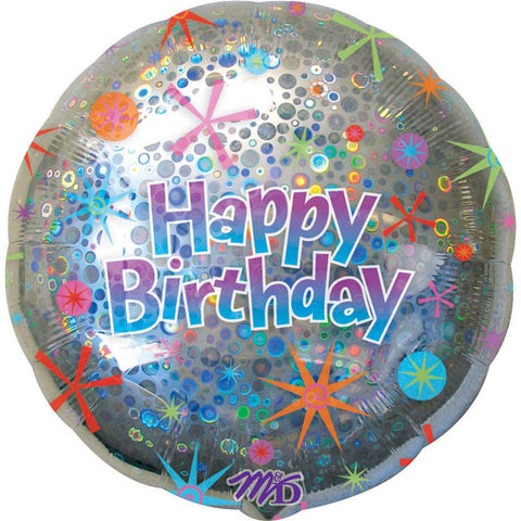 Holographic Circles Happy Birthday Super Shape Foil Balloon, 32'' | 1 ct