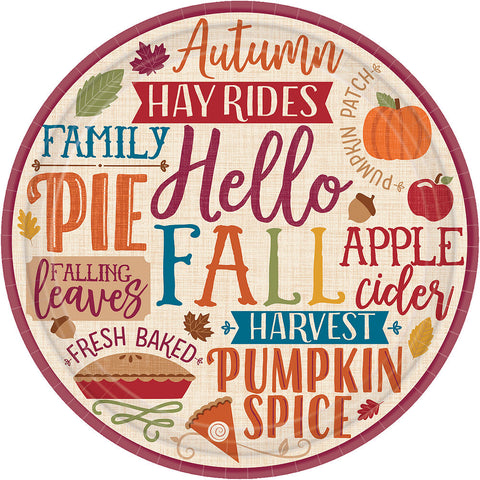 Hello Fall dessert plate 7in | 8ct