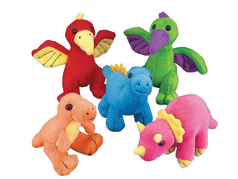 Plush Neon Stuffed Dinosaurs | 12ct