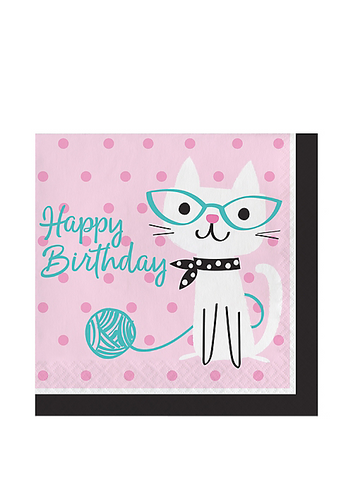 "Purr-fect Cat ""Happy Birthday"" Lunch Napkins 