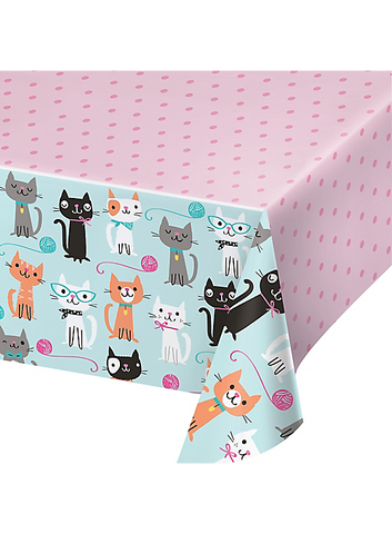 "Purr-fect Cat Party Plastic Table Cover | 54"" x 102"""