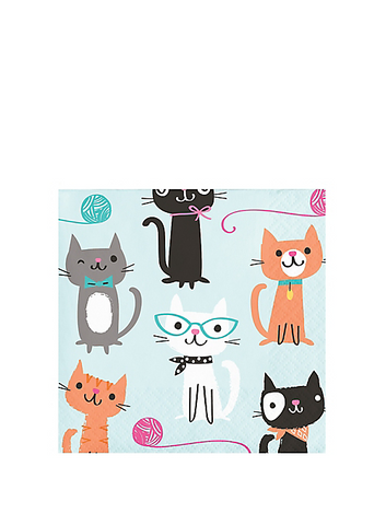 Purr-fect Cat Party Beverage Napkins | 16ct