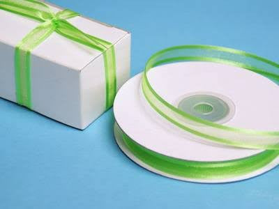 Lime Green Sheer Ribbon w/ Satin Edge | 3/8""