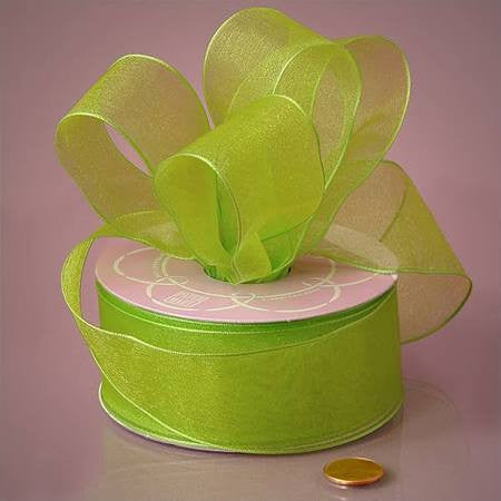 Sheer Lime Green Ribbon | 1.5""