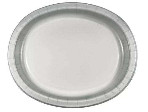 Silver Paper Oval Dinner Plates' | 8ct