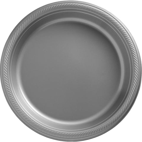 Silver Plastic Dinner Plates, 10.25'' | 50ct