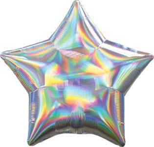 Silver Iridescent Star Balloon, 18'' | 1 ct